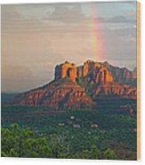 Rainbow Over Arizona Scenery Wood Print
