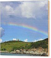 Rainbow Over Buck Island Lighthouse Wood Print