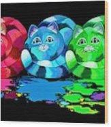 Rainbow Painted Cats Wood Print