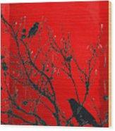 Raven - Black Over Red Wood Print