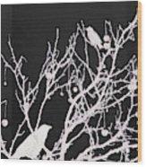 Raven - White Over Black Wood Print