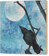 Raven with Torrey Pine Branch and Cold Moon Wood Print