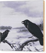 Ravens In Winter Wood Print