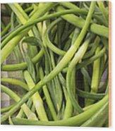Raw Garlic Scapes Wood Print