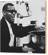 Ray Charles Singing At The Piano Wood Print