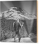 Rear View Of A Sasquatch Hitchhiking Wood Print