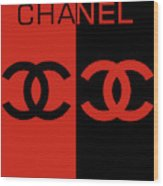 Red And Black Chanel Wood Print