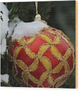Red And Gold Ornament Wood Print