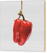 Red Bell Pepper On A White Background Wood Print