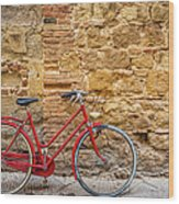 Red Bicycle Wood Print