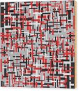 Red Black White Geometric Wood Print
