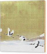 Red-crowned Cranes In Flight Against Wood Print
