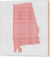 Red Dot Map Of Alabama Wood Print
