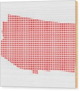 Red Dot Map Of Arizona Wood Print