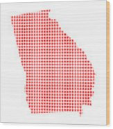 Red Dot Map Of Georgia Wood Print