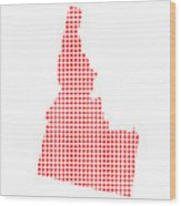 Red Dot Map Of Idaho Wood Print