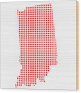 Red Dot Map Of Indiana Wood Print