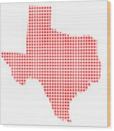 Red Dot Map Of Texas Wood Print