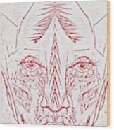 Red Face Wood Print