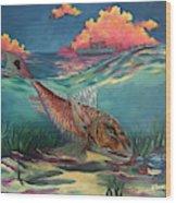 Red Fish Hunt Wood Print