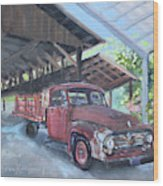 Red Ford And Pink Flowers Wood Print