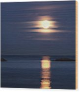 Red Full Harvest Moon Rising Above Pacific Ocean In Autumn Wood Print