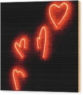 Red Hearts On Wall Wood Print