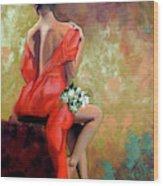 Red Lady 2 Wood Print