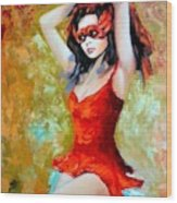 Red Mask Lady Wood Print