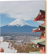 Red Pagoda With Mt Fuji Background And Wood Print