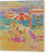 Red Parasols, Miami Wood Print