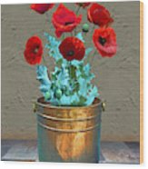 Red Patio Poppies Wood Print