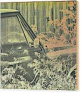 Red Pickup Wood Print