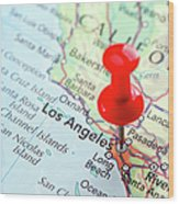Red Pin Pointed On The Los Angeles Map Wood Print