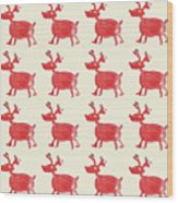 Red Reindeer Pattern Wood Print