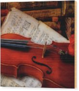 Red Rose And Violin With Sheet Music Wood Print