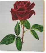 Red Rose Wood Print