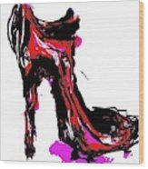 Red Shoe With High Heel Wood Print