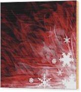 Red Snowflake Wood Print