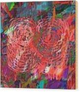 Red Swirls Wood Print