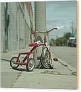 Red Tricycle Wood Print