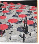 Red Umbrellas 2 Wood Print