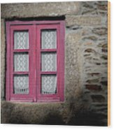 Red Window Wood Print