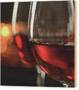 Red Wine By The Fire Wood Print