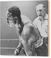 Referee Counting As Boxer Archie Moore Wood Print