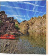 Reflections On The Colorado River Wood Print