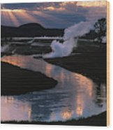 Reflections On The Firehole River Wood Print