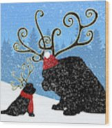 Reindeer Newfs Holiday Card Wood Print