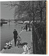 Relaxing By The Seine Wood Print