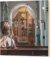 Religious Scene Young Female Praying At Wood Print